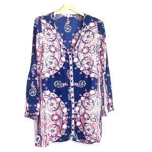 BILLABONG • Floral Navy Flutter Sleeve Tunic Top
